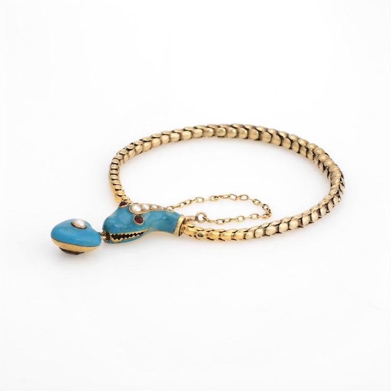 Women's Antique Victorian Snake Bracelet 18 Karat Gold Blue Enamel Garnet Pearl Old For Sale