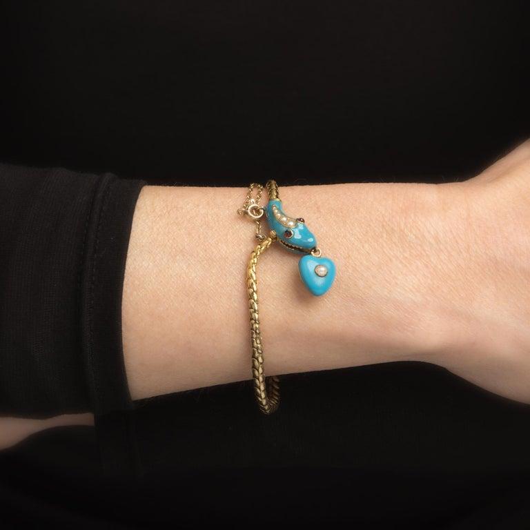 Antique Victorian Snake Bracelet 18 Karat Gold Blue Enamel Garnet Pearl Old For Sale 1