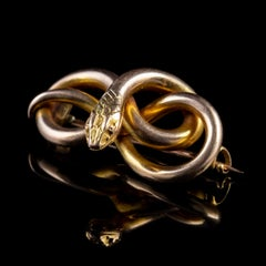 Antique Victorian Snake Brooch 15 Carat Gold, circa 1880