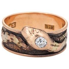 Antique Victorian Snake Ring Old Mine Cut Diamond 14 Karat Gold Serpent Band