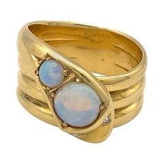 Antique Victorian Snake Serpent Opal Diamond Gold Ring England