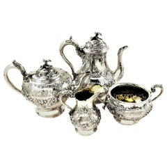 Antique Victorian Solid Silver Four-Piece Tea and Coffee Set, 1856