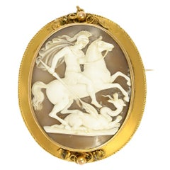 Antique Victorian St. George & The Dragon Cameo Brooch
