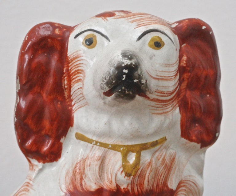 Antique Victorian Staffordshire Hand Painted Pottery Dog Figurine circa 1860s For Sale 1