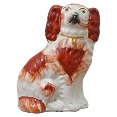 Antique Victorian Staffordshire Hand Painted Pottery Dog Figurine circa 1860s