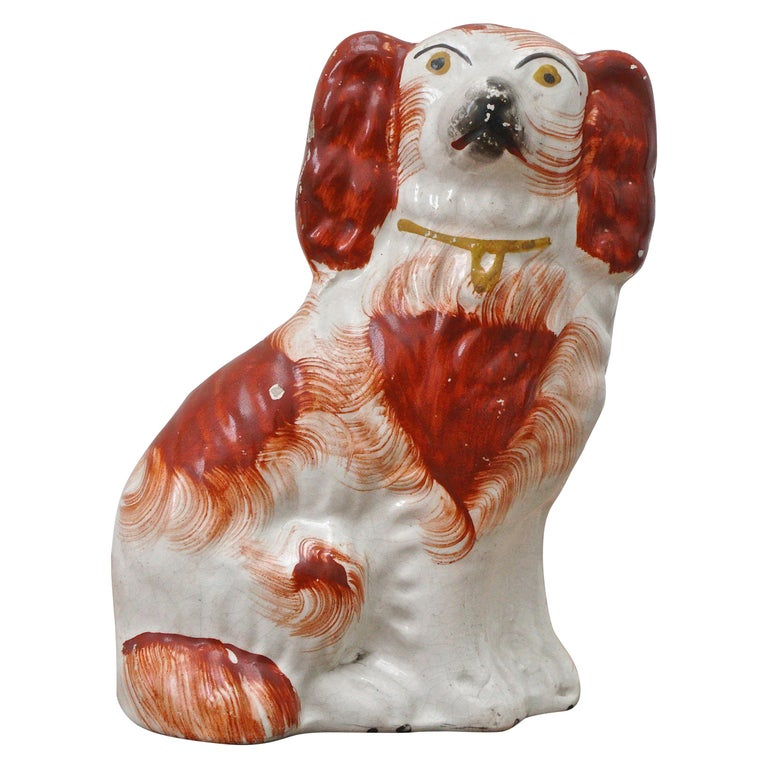 Antique Victorian Staffordshire Hand Painted Pottery Dog Figurine circa 1860s For Sale