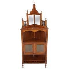 Antique Victorian Standing Corner Cabinet, Mahogany, Mirror Back, Scotland, 1880