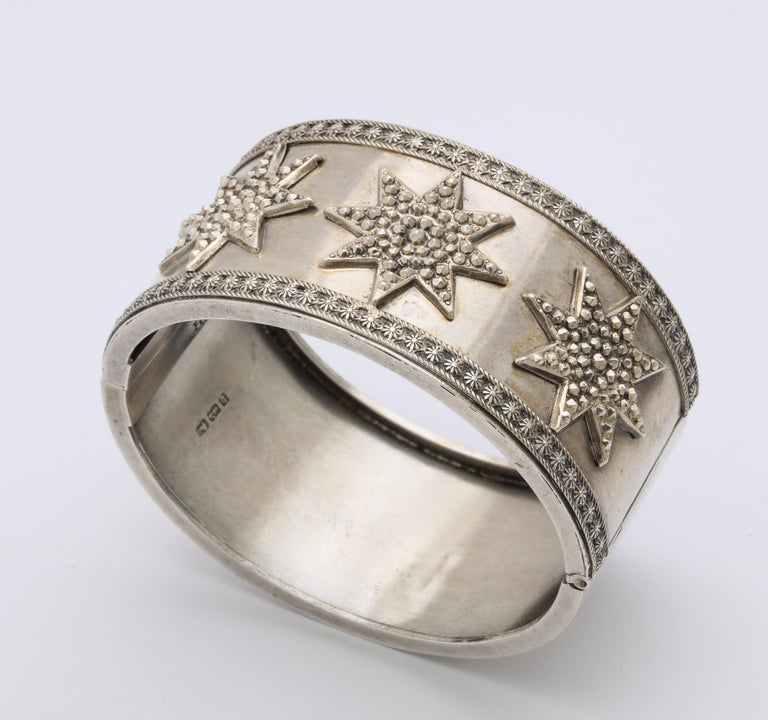 Antique Victorian Star Sterling Silver Cuff Bracelet In Excellent Condition For Sale In Stamford, CT