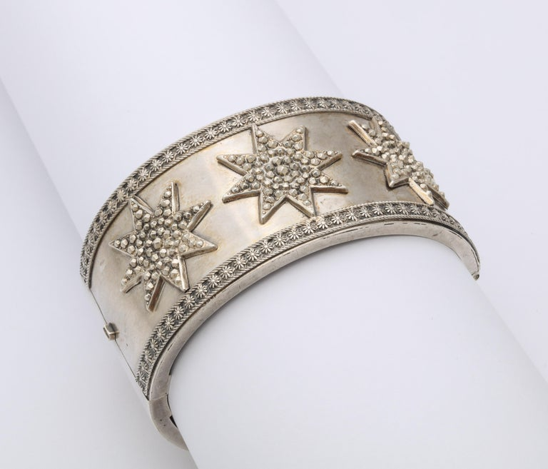 Women's Antique Victorian Star Sterling Silver Cuff Bracelet For Sale