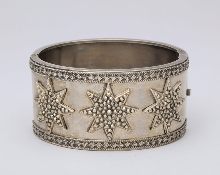 Antique Victorian Star Sterling Silver Cuff Bracelet For Sale 1