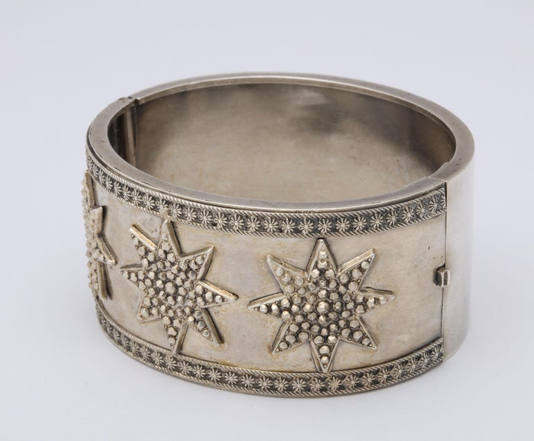 Antique Victorian Star Sterling Silver Cuff Bracelet For Sale 2