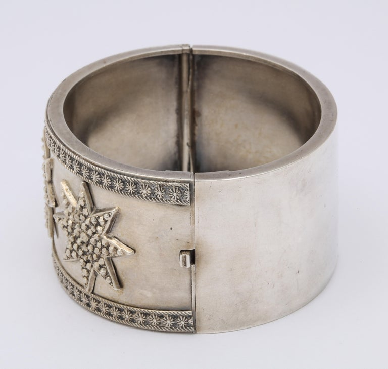 Antique Victorian Star Sterling Silver Cuff Bracelet For Sale 3