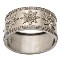 Antique Victorian Star Sterling Silver Cuff Bracelet