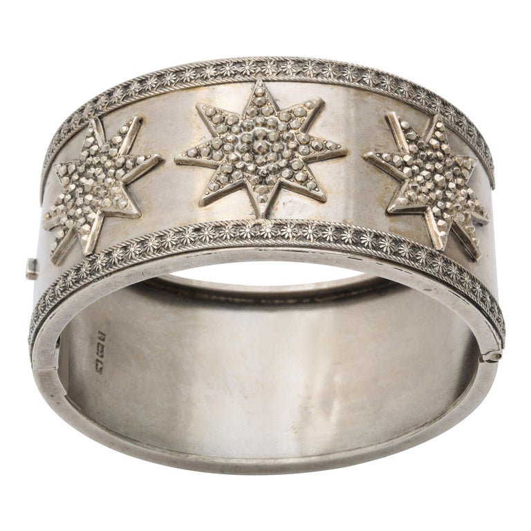 Antique Victorian Star Sterling Silver Cuff Bracelet For Sale