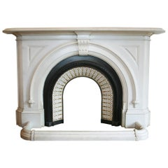Antique Victorian Statuary White Marble Arched Fireplace Surround
