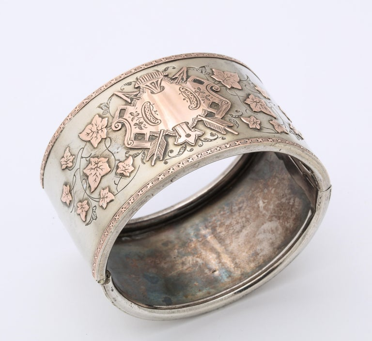 Women's Antique Victorian Sterling and Gold Cuff Bracelet For Sale
