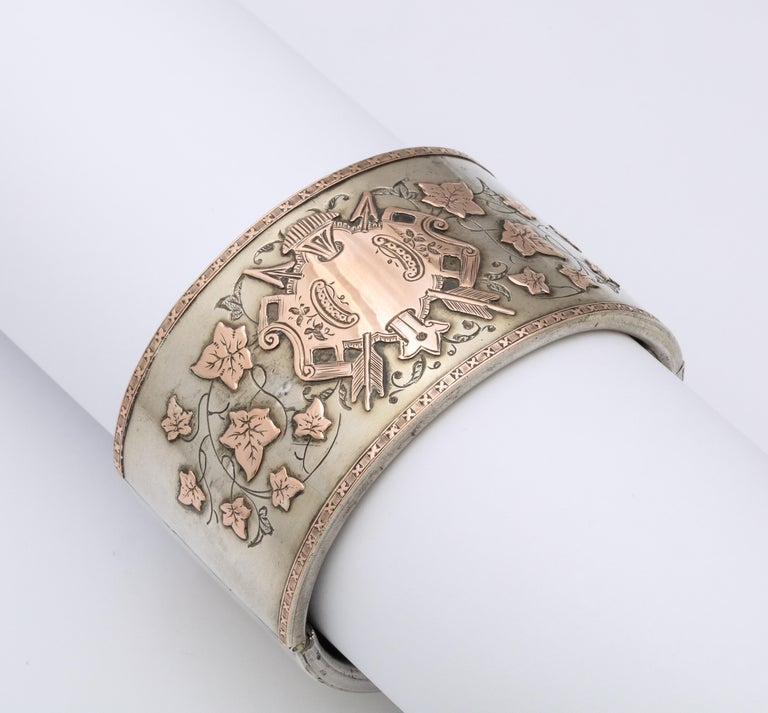 Antique Victorian Sterling and Gold Cuff Bracelet For Sale 1