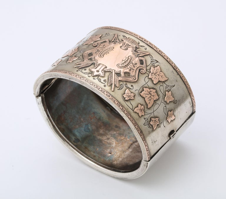 Antique Victorian Sterling and Gold Cuff Bracelet For Sale 4