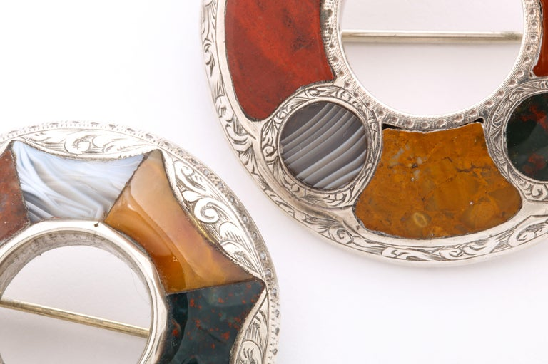 High Victorian Antique Victorian Sterling and Scottish Agate Brooches For Sale