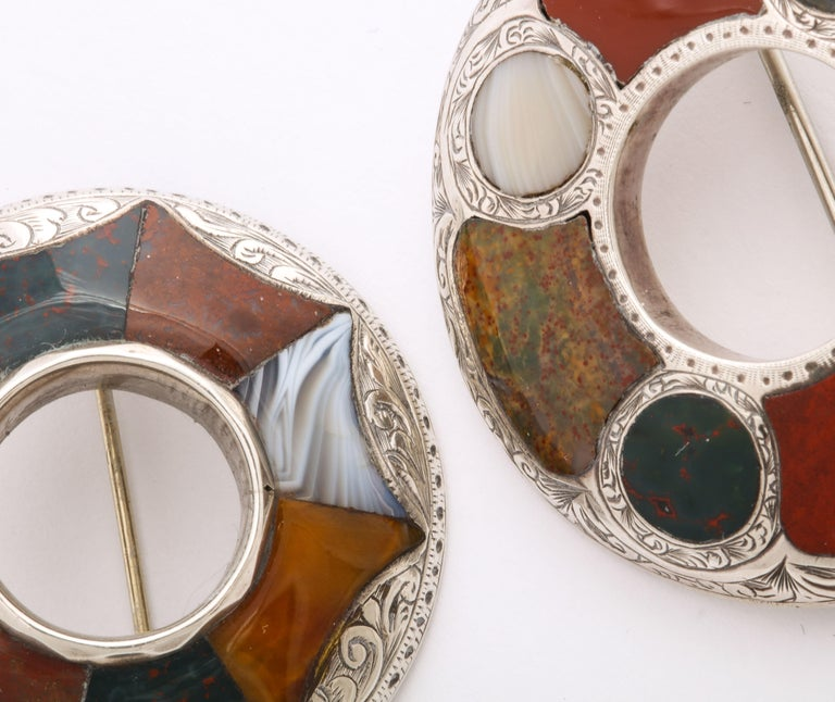 Antique Victorian Sterling and Scottish Agate Brooches In Excellent Condition For Sale In Stamford, CT