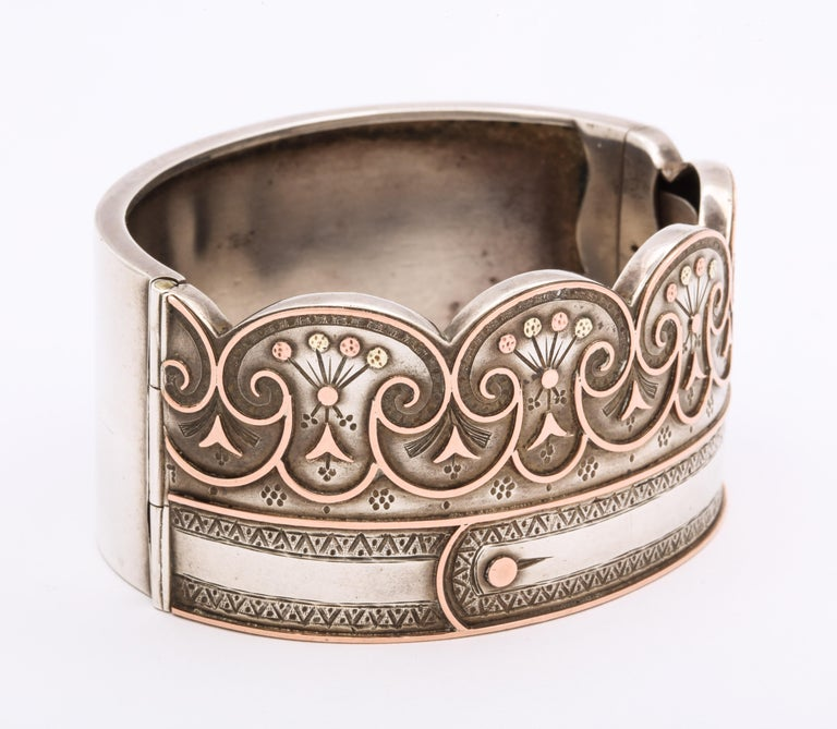 High Victorian Antique Victorian Sterling Button Cuff Bracelet For Sale