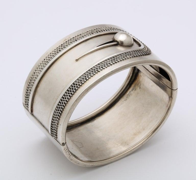 Women's or Men's Antique Victorian Sterling Button Cuff Bracelet For Sale
