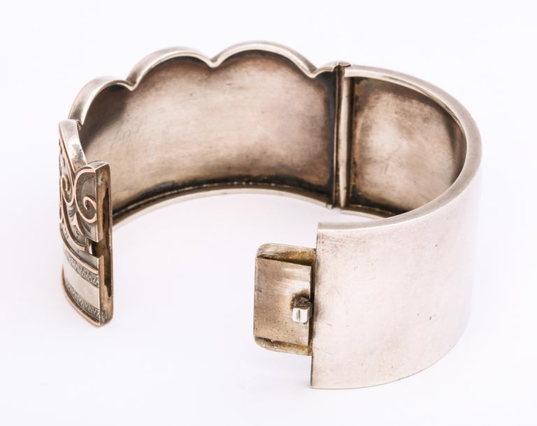 Women's or Men's Antique Victorian Sterling Button Cuff Bracelet For Sale