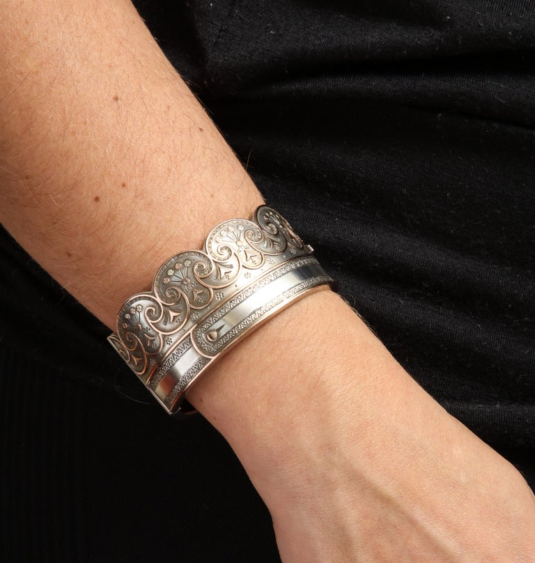 Antique Victorian Sterling Button Cuff Bracelet For Sale 2