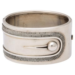 Antique Victorian Sterling Button Cuff Bracelet