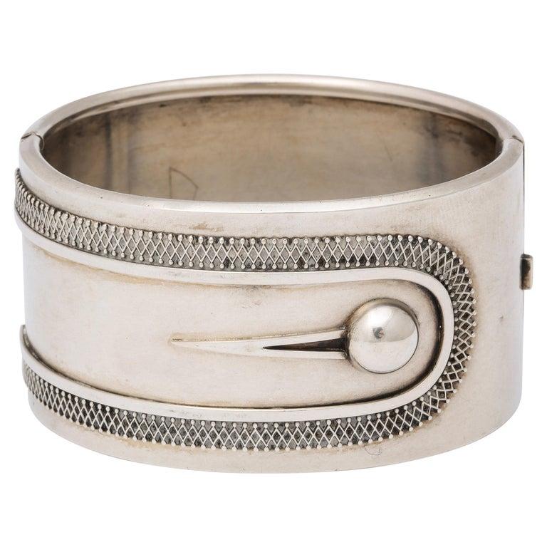 Antique Victorian Sterling Button Cuff Bracelet For Sale