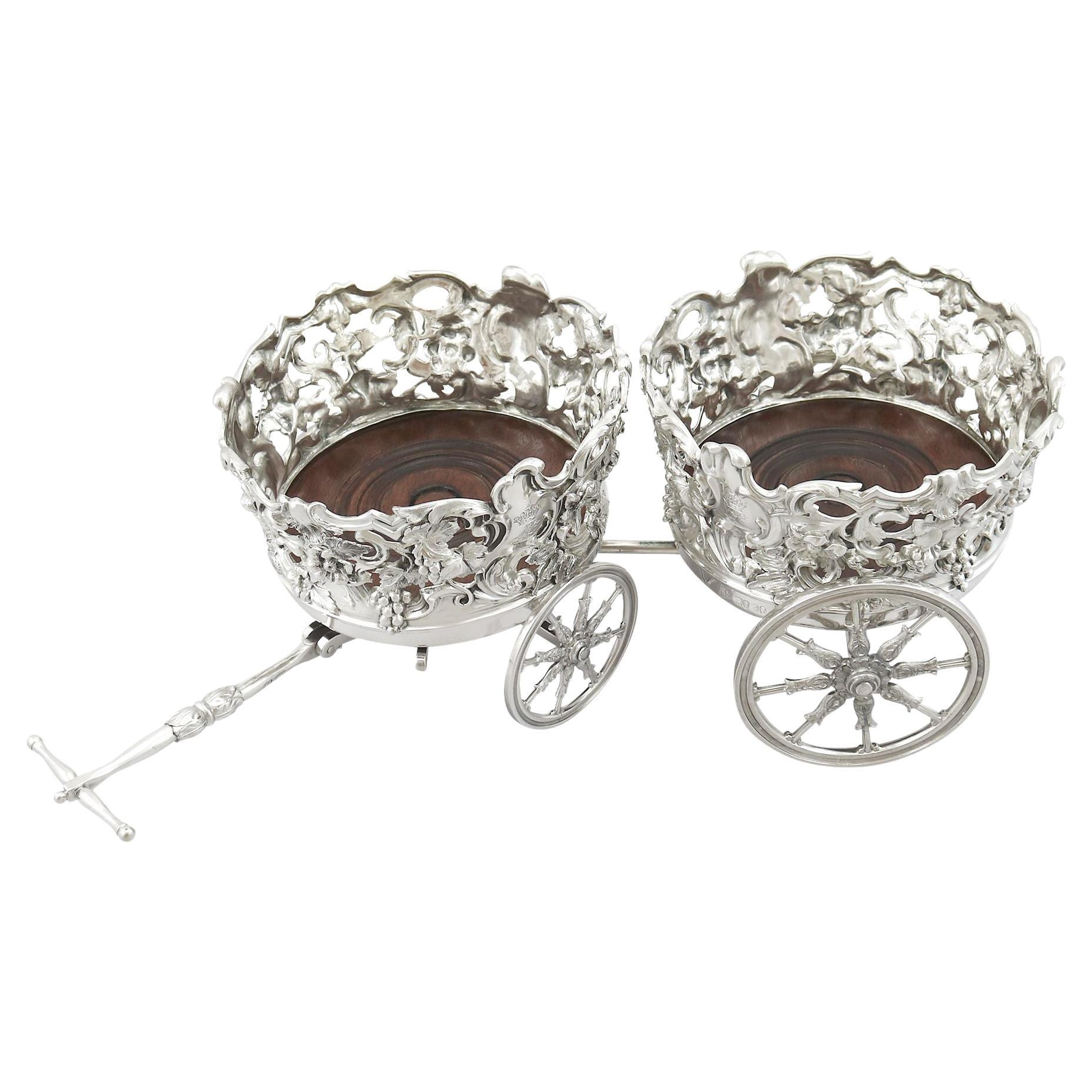 Antique Victorian Sterling Silver Double Coaster Trolley, 1839