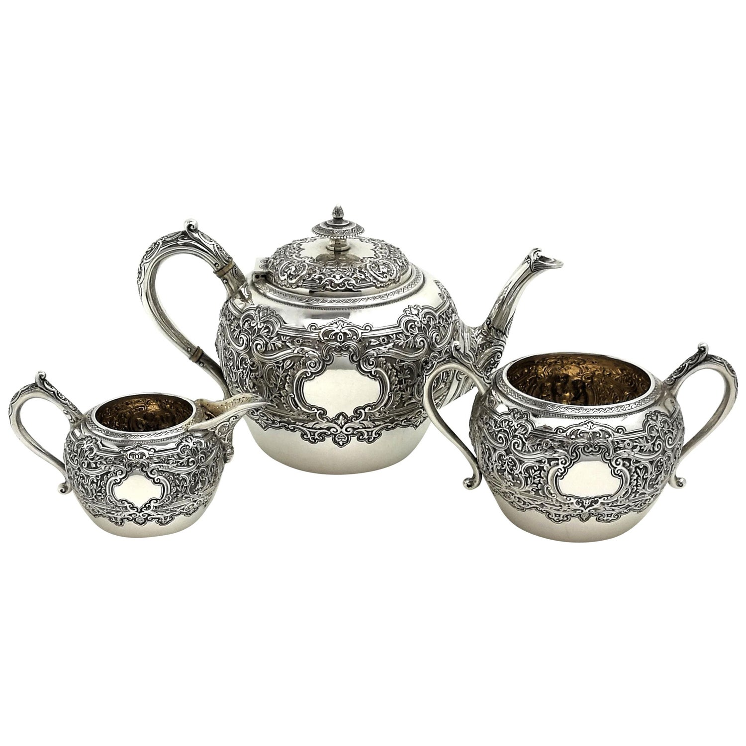 Antique Victorian Sterling Silver 3 Piece Tea Set 1892 Teapot