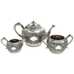 Antique Victorian Sterling Silver 3 Piece Tea Set 1892 Teapot