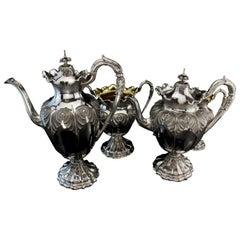 Antique Victorian Sterling Silver 4-Piece Tea Service Set