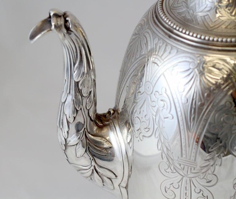 Antique Victorian Sterling Silver 4 Piece Tea Set, by Elkington & Co Ltd, 1864 For Sale 4