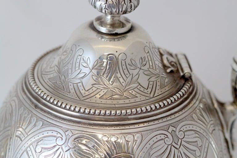 Antique Victorian Sterling Silver 4 Piece Tea Set, by Elkington & Co Ltd, 1864 For Sale 7
