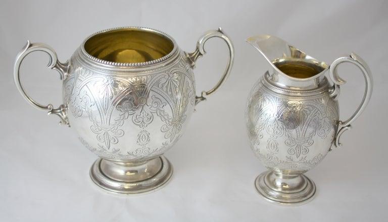 Antique Victorian Sterling Silver 4 Piece Tea Set, by Elkington & Co Ltd, 1864 For Sale 9