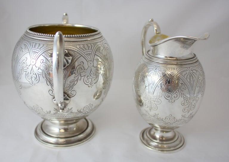 Antique Victorian Sterling Silver 4 Piece Tea Set, by Elkington & Co Ltd, 1864 For Sale 10