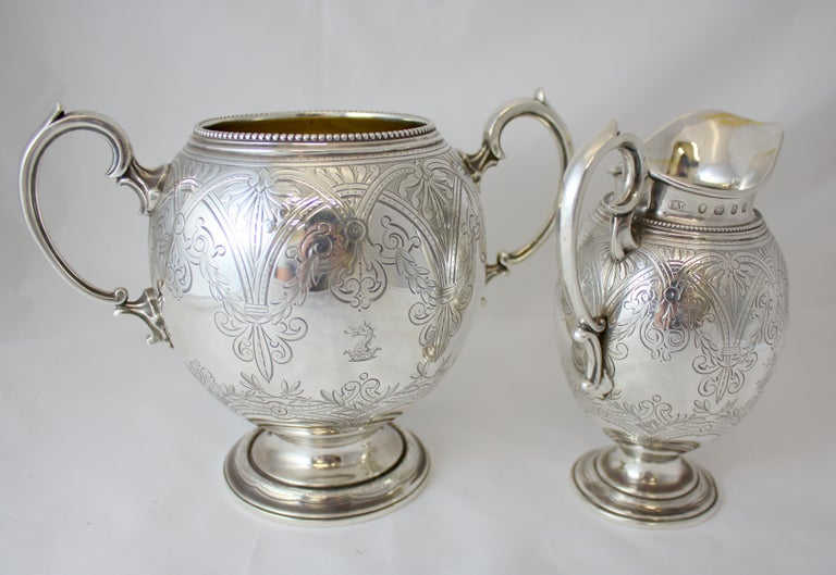 Antique Victorian Sterling Silver 4 Piece Tea Set, by Elkington & Co Ltd, 1864 For Sale 11