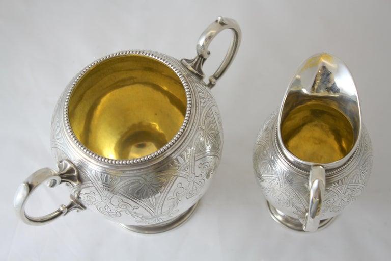 Antique Victorian Sterling Silver 4 Piece Tea Set, by Elkington & Co Ltd, 1864 For Sale 12