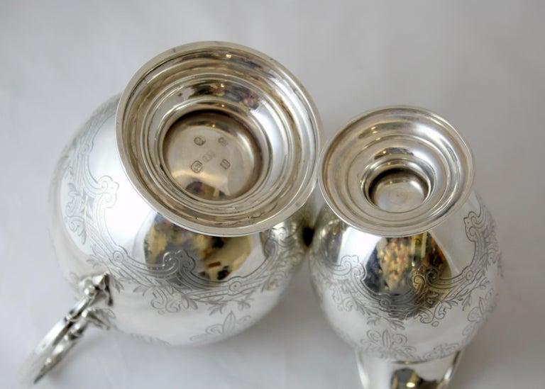 Antique Victorian Sterling Silver 4 Piece Tea Set, by Elkington & Co Ltd, 1864 For Sale 13