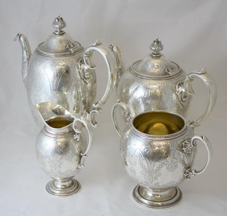 Antique Victorian sterling silver four piece tea set Maker: Elkington & Co Ltd Made in Birmingham 1864 Fully hallmarked.  Dimensions:  Coffee pot size: 23 x 13 x 26.5 cm Weight: 827 grams  Tea pot size: 25.8 x 13 x 22.7 cm Weight: 783