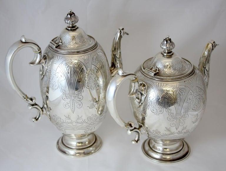 British Antique Victorian Sterling Silver 4 Piece Tea Set, by Elkington & Co Ltd, 1864 For Sale