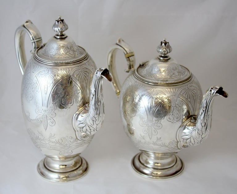 Antique Victorian Sterling Silver 4 Piece Tea Set, by Elkington & Co Ltd, 1864 In Excellent Condition For Sale In Braintree, GB