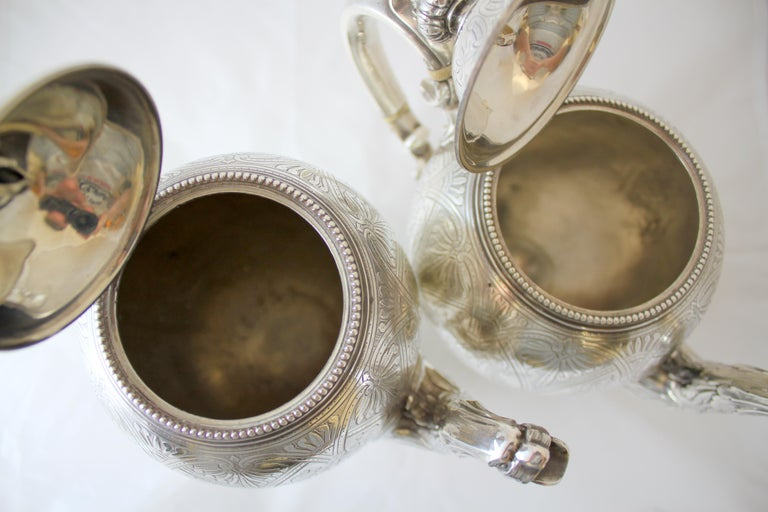 Mid-19th Century Antique Victorian Sterling Silver 4 Piece Tea Set, by Elkington & Co Ltd, 1864 For Sale