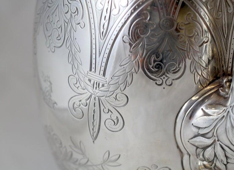 Antique Victorian Sterling Silver 4 Piece Tea Set, by Elkington & Co Ltd, 1864 For Sale 3