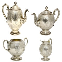 Antique Victorian Sterling Silver 4 Piece Tea Set, by Elkington & Co Ltd, 1864