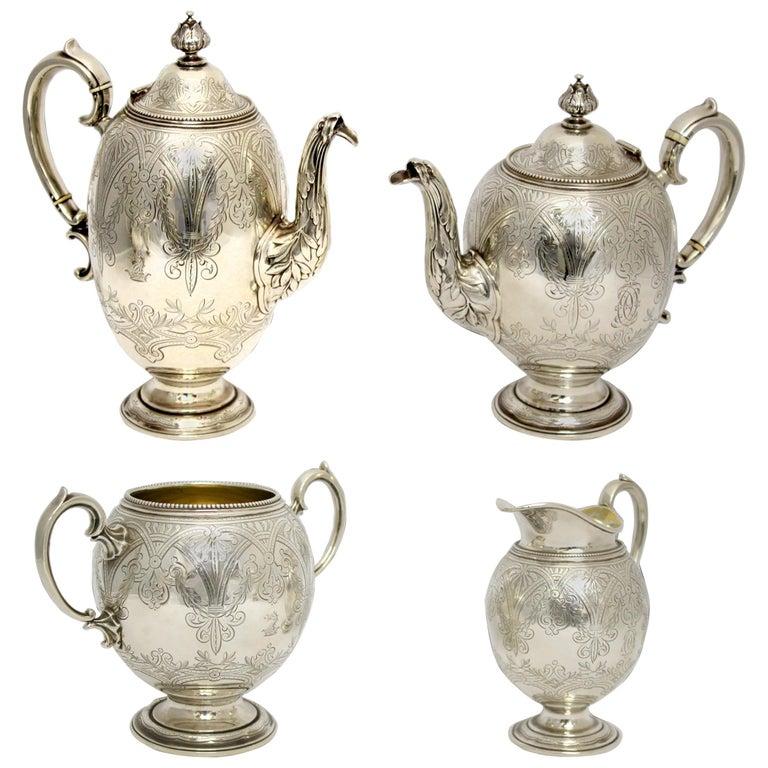 Antique Victorian Sterling Silver 4 Piece Tea Set, by Elkington & Co Ltd, 1864 For Sale