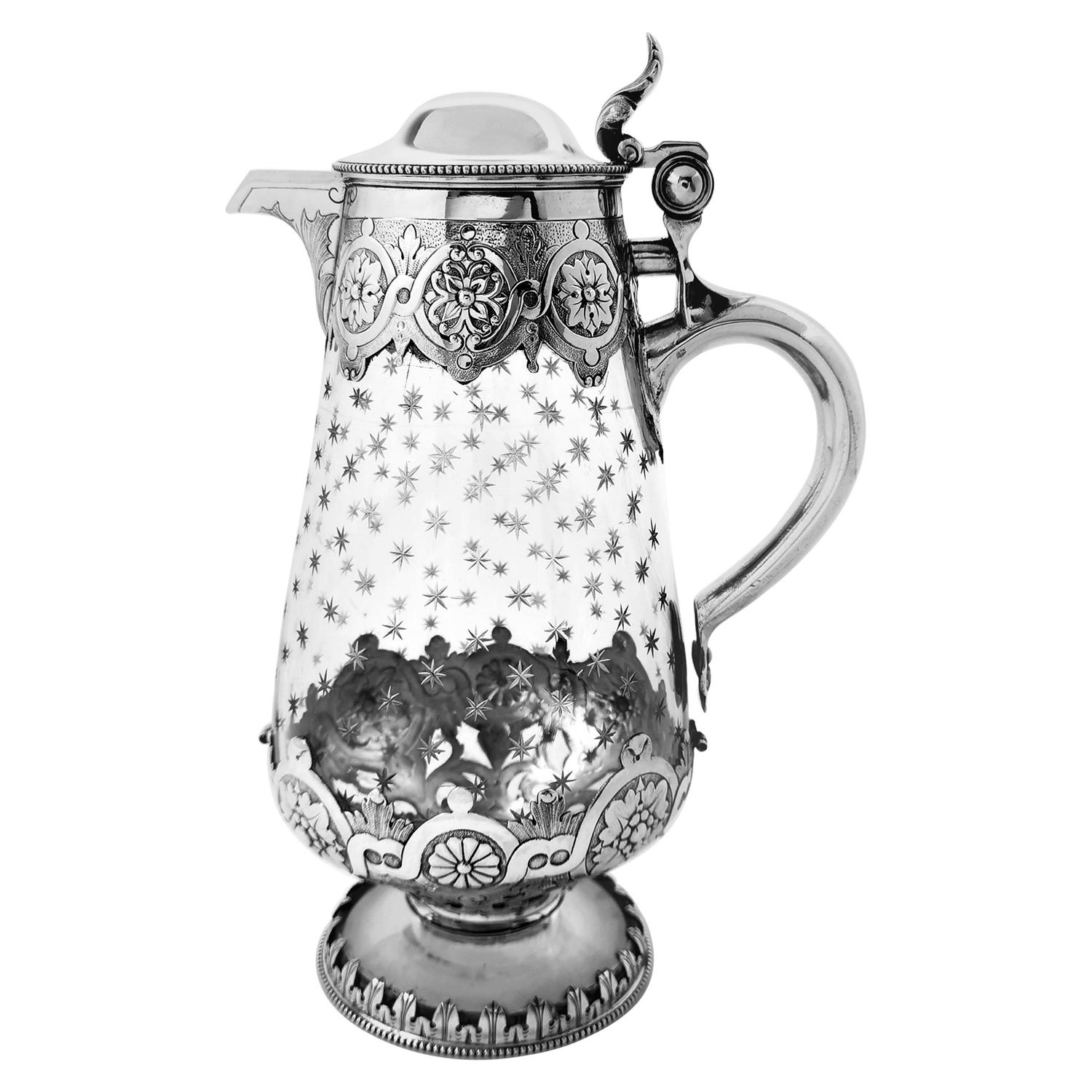Antique Victorian Sterling Silver and Cut Glass Claret Jug / Wine Decanter, 1881
