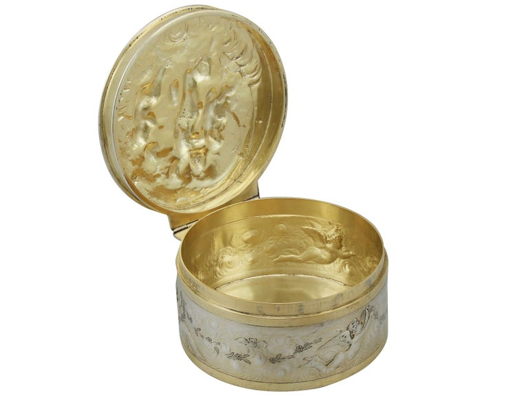 Antique Victorian Sterling Silver and Gilt Box For Sale 5